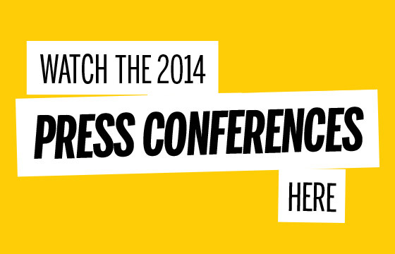 black text on yellow background advertising press conferences
